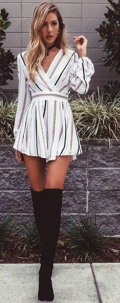 #summer #flirty #outfitideas | Stripe Playsuit