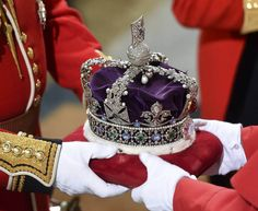 Queen Elizabeth's Imperial State Crown arrives at the Royal Gallery before the…