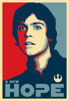 Luke Skywalker Obama-style campaign poster