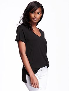 Drapey V-Neck Tee for Women Product Image