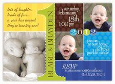 First Birthday Photo Collage Twin Boys Birthday Invitation
