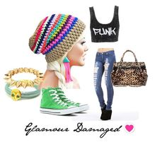 Womens Fashion Collage- Crochet Slouch Eclectic Rainbow and Beige Beanie by GlamourDamaged, $20.00
