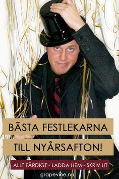 Välj bland mängder av festlekar. Vilken passar bäst för just er? Läs mer här. #festlekar #nyårsfest #nyårsquiz #mordmysterie #mordgåta #musikquiz #quiz #bordsplaceringslekar Nyårsfest Tips, New Years Party, New Years Eve, Perfect Party, Captain Hat, Parties, Fiestas, New Years Eve Party, New Year Celebration