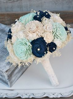 Custom Hand Dyed Pastel Mint Green & Navy Everlasting Bride's Bouquet - Sola Wood, Lace Flowers, Baby's Breath - Alternative Wedding Bouquet
