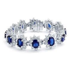 Bling Jewelry Sapphire Color CZ Crown Princess Diana Inspired Tennis... ($100) ❤ liked on Polyvore featuring jewelry, bracelets, blue, cz tennis bracelet, tennis bracelet, cz bracelet, bridal jewelry and crown bracelet