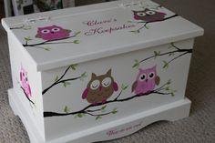 Pink Owls baby keepsake chest / box. $185.00, via Etsy. Olivia.
