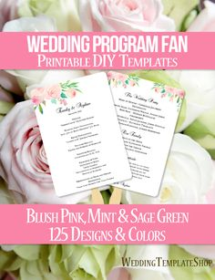 DIY Printable Wedding Program Fan template shown here in the Watercolor Floral design series in blush pink, mint and sage green. All wording is 100% editable by you within Word. Easy to edit & print.