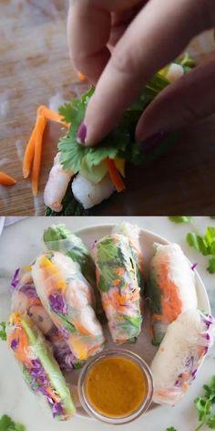 Homemade Spring Rolls, Healthy Spring Rolls, Fresh Spring Rolls, Easy Spring Rolls, Healthy Rolls, Vegetarian Spring Rolls, Spring Roll Peanut Sauce, Spring Roll Dipping Sauce, Vegetarian Recipes