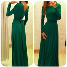 Green Long Sleeve Belt Dress