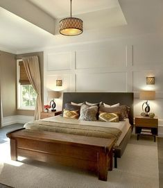 **Love the board and batten wall. modern-traditional-home-design-unusualarchitectural-elements-11-bedroom.jpg #MasculineBedding