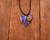 One of a kind Dichroic fused glass Heart necklace