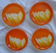 Vintage 70's Clear Lucite Plaster Orange Retro Wet Drink Coasters Funky 4pc Lot