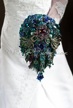 Royal Whimsy cascade jeweled peacock wedding brooch bouquet - Ruby Blooms