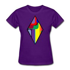 SICKIE THREADS   RAINBOW DIAMONDS - Womens T-Shirt Heather Black, Unique Outfits, Fruit Of The Loom, Unisex Fashion, Fabric Weights, Classic T Shirts, Diamonds, Rainbow, T Shirts For Women