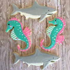 Seahorse and shark sugar cookies