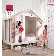Kinderbett in Hüttenform rosa-weiß VIOLETTE
