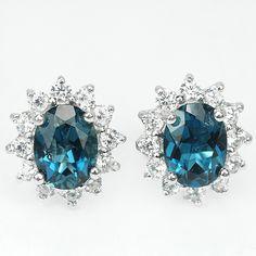 Buy ***IN STOCK***REAL STONES!!!*** LONDON BLUE TOPAZ STERLING 925 SILVER EARRINGSfor R780.00 925 Silver Earrings, Stud Earrings, Natural Opal, London Blue Topaz, White Topaz, Earring Set, Swarovski Crystals, Stones, Jewellery