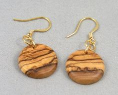 Hand Turned Olive Wood Earrings by pioneerpens on Etsy, $15.00