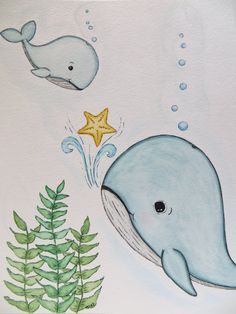 childrens wall art blue whale painting watercolor by Waterblooms, $30.00