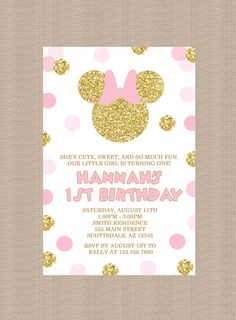Pink and Gold Minnie Mouse Birthday Party Invitation 2, Gold Minnie Mouse, Gold Glitter, Polka Dot, 1st Birthday, Girl, Printable Invitation by Honeyprint on Etsy https://www.etsy.com/listing/248626737/pink-and-gold-minnie-mouse-birthday