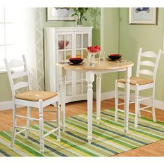 Rush Seat 3 Piece Counter Height Dining Set, White And Natural