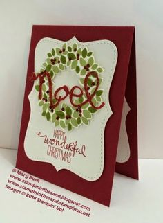 Stampin Up Wondrous Wreath Christmas card. noel. #stampinup