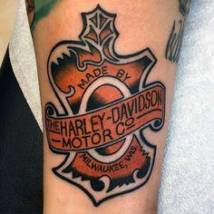 Mens Vintage Orange And Black Harley Davidson Logo Tattoo