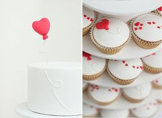 Heart Cupcakes, love the simplicity :)  I'm thinking angel food with strawberry center and this icing.