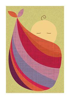Babywearing Art Print Baby Sling Baby by NorthernSunArtPrints