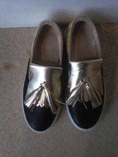 # Pause # scarpa # mocassino# frange # oro e nero