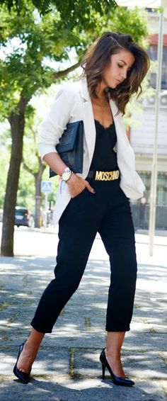 Everyday New Fashion: Best Street Fashion Inspiration And Looks. Black jumpsuit and White Blazer | More outfits like this on the Stylekick app! Download at http://app.stylekick.com