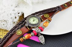 Specials Only USD2.89 Handmade Vintage Leather Band Watches Woman Wrist Watch with OWL, Leather Watch Bracelets S014· Wrist Watch · Buy Link: https://www.akisonshop.com/watch/vintage-leather-bracelet-quartz-wrist-watch-owl-style-S014.html