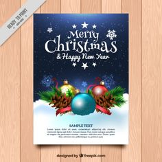 Christmas and new year greeting with realistic ornaments Free Vector