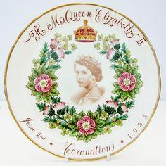 Vintage Queen Elizabeth II Coronation 1953 Tuscan Fine Bone China Plate Floral