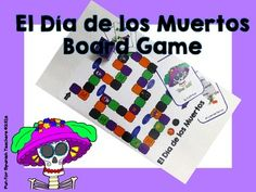 """This fun Da de los Muertos themed game will help your students remember vocabulary while having fun. This set Pages for board Vocabulary cards for """"El Da de los Die and markers for the Cards for the Template for you to create more cards for the Spanish Teaching Resources, Teaching Ideas, Class Games, Vocabulary Cards, Game 4, Spanish Class, Board Games, Templates, Activities"""