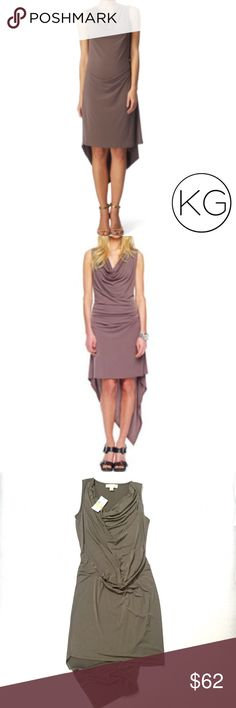 """Michael Kors Cowl Sheath Dress in Mink Brand new with tags! •Women's size M •Beaitiful olive taupe color called Mink •95% Polyester, 5% Spandex - has great stretch and a draped, silky form-fitting structure •16.5"""" waist, 17.5"""" from underarm to underarm, 37"""" from shoulder to hem (not including handkerchief hem)  •1st & 2nd photos to show fit only - finding the exact color was a tough one - this dress is more green than brown •Retail $99.50 🚫no trades nor lowball offers🚫 Thank you for…"""