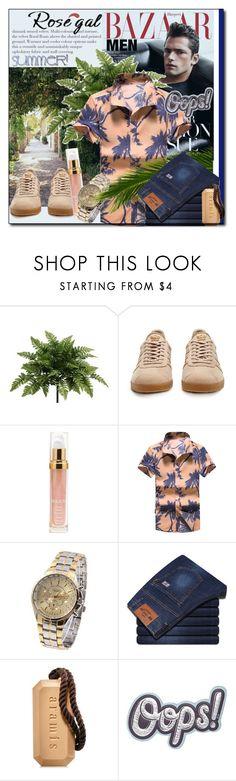 """ROSEGAL CONTEST: Printed Short Sleeve Hawaiian Shirt"" by astromeria ❤ liked on Polyvore featuring adidas Originals, Sisley, Aramis, Anya Hindmarch, men's fashion and menswear"