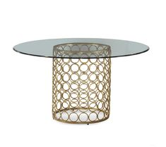 gold dining table bases | ... 54 Inch Round Glass Top Dining Table - D2789-700-095 at BEYOND Stores
