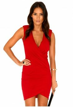 Missguided - Miriana Cross Over Tailored Dress In Red
