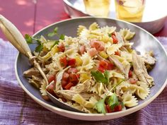 Bow Tie Pasta Salad with Chicken and Roasted Peppers recipe from Food Network Kitchen via Food Network