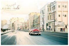 Cuba Vintage Red Car Malecon Old Havana Print 8X10 by Havaname