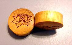 Custom Handmade Organic Zen Lotus Designed Wood Plugs by ULEKstore, $19.95