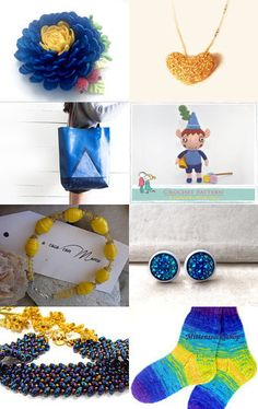Blue Skies and Yellow Sunshine by KnitWhats on Etsy--Pinned with TreasuryPin.com