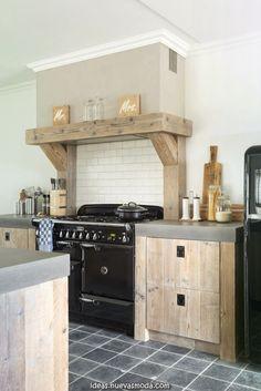 Maravilloso Cocina de estilo rústico con encimera de hormigón Kitchen Hood Design, Kitchen Vent, Barn Kitchen, Kitchen Hoods, Rustic Kitchen, Interior Design Kitchen, New Kitchen, Open Plan Kitchen Living Room, Kitchen Dinning Room
