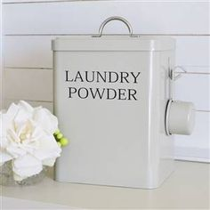 Clay Laundry Detergent Soap Powder Storage Container Comes With A Handy Scoop On The Side Beautiful French Grey In Colour Sage Green
