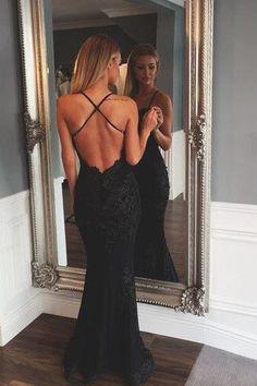 Black Backless lace Sexy mermaid beautiful Long Prom Dress OK226