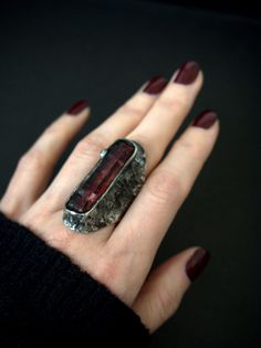 Jewelry OFF! Excited to share the latest addition to my shop: Quartz ring Red crystal ring Raw gemstone ring Brutalist ring Tribal ring Boho jewelry Stained glass Reminiscent dragon ring Raw Gemstone Jewelry, Opal Jewelry, Jewelry Art, Jewelry Rings, Jewelery, Silver Jewelry, Fine Jewelry, Jewelry Design, Fashion Jewelry