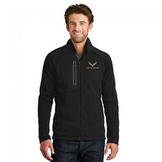 North Face® Corvette Fleece Jacket - Black  Protect yourself from the elements with this sleek, smooth-faced fleece built for rock-solid durability and easy movement. Features include a brushed interior for comfort, raglan sleeves, and secure-zip hand pockets. The men's version has a right chest zip-pocket with taped accents. C7 crossed flags and Corvette signature embroidered on left chest. Contrast North Face logo on left sleeve. 100% polyester fleece. Imported.  SKU: CM2-MJ488