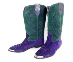 Incredible purple and green suede vintage cowgirl boots! Size 8 - $94.00 **Save 10% with coupon code PIN10 at checkout**