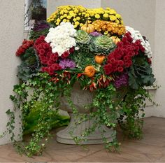 Stunning outdoor fall planter